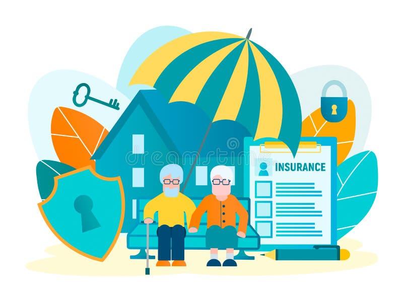 Bescherming van onroerende goederen, bezit en besparingen van bejaarde mensen Voorwerpen van verzekering royalty-vrije illustratie