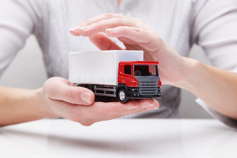 Bescherming van vrachtwagen (concept) stock afbeelding