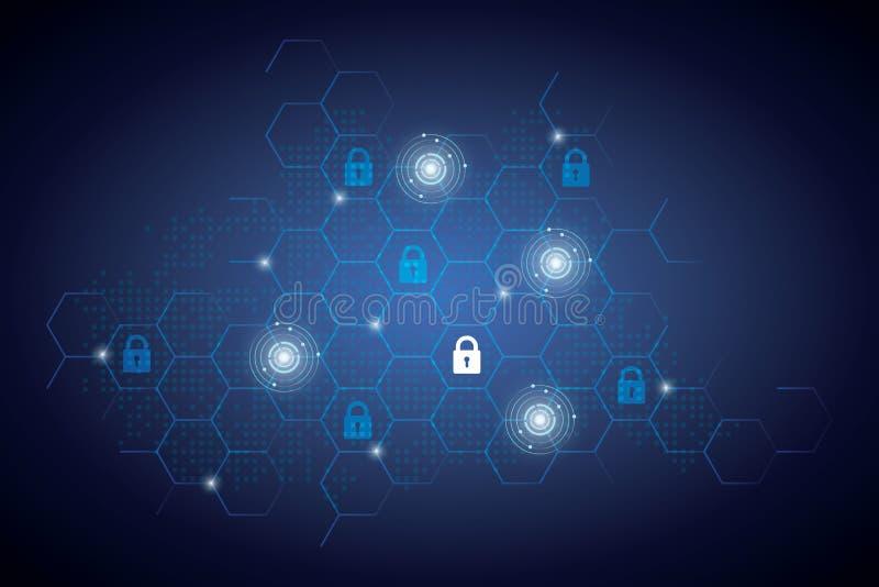Beschermings achtergrondtechnologie en Internet-veiligheid royalty-vrije illustratie