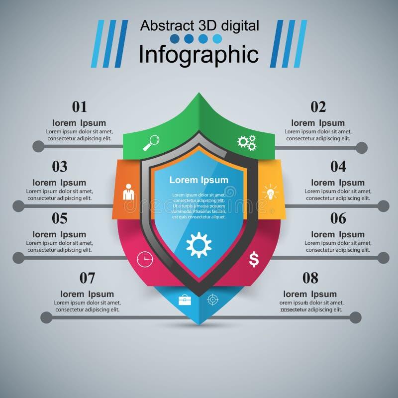 Beschermings bedrijfsinfographics Op de markt brengend pictogram vector illustratie