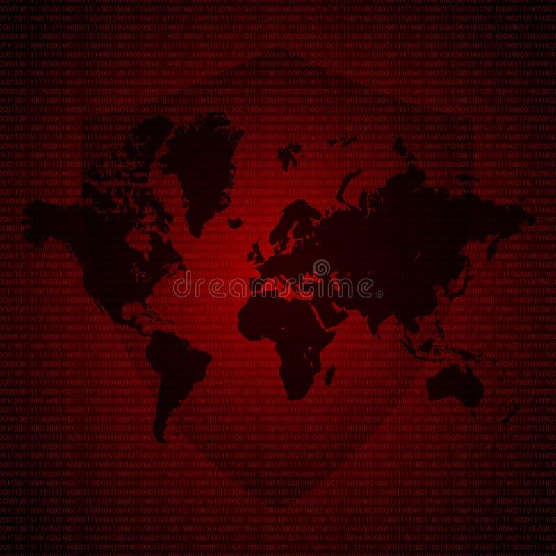 Beschermingsschild over Wereldkaart De gecodeerde dossiers van Malwareransomware virus Vectorillustratie cybercrime en cyber conc vector illustratie