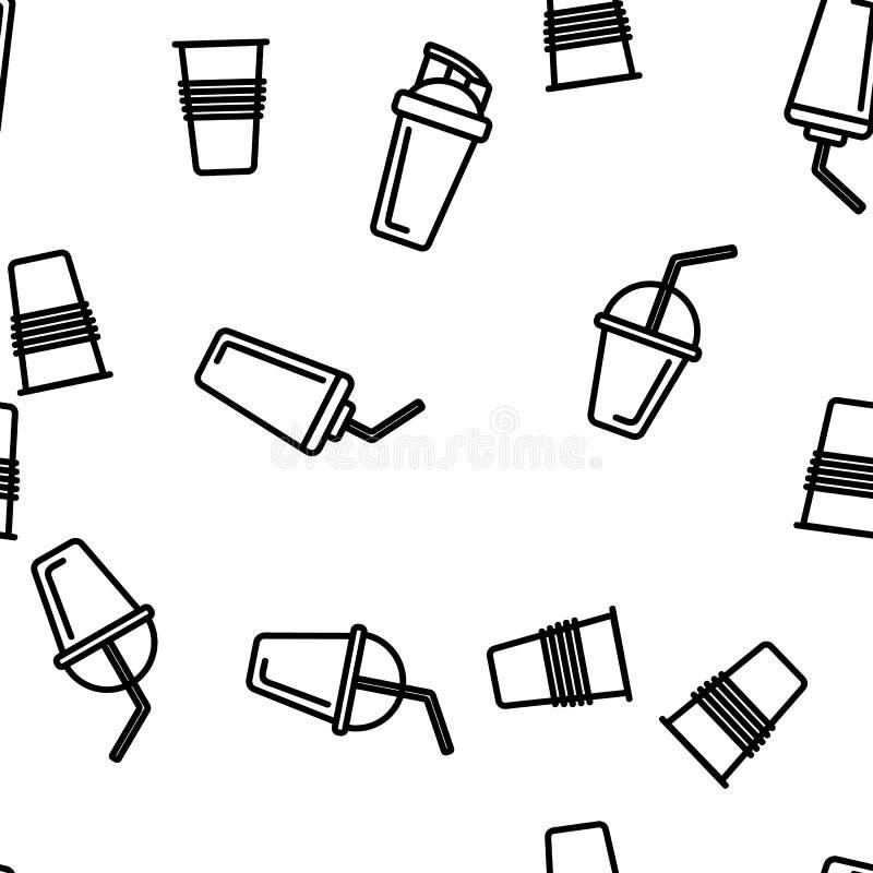 Beschikbaar Plastic Kop Lineair Vector Naadloos Patroon vector illustratie