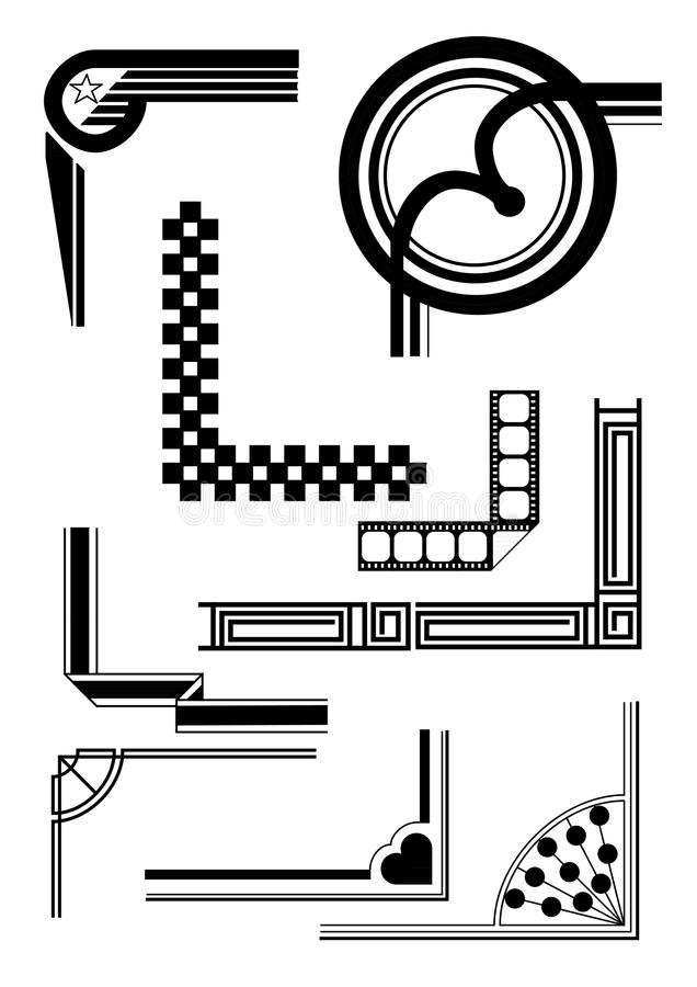 Beschikbare de vector van Art Deco Borders en van hoeken vector illustratie