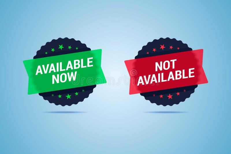 Beschikbare nu en niet beschikbare etiketten stock illustratie