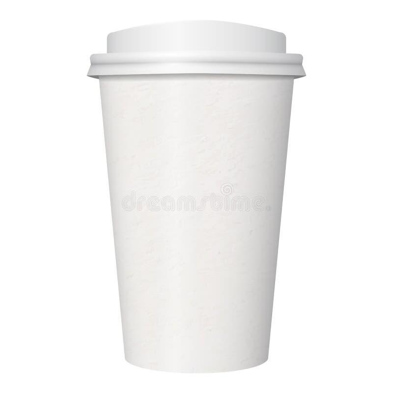 Beschikbare witte kraftpapier-document koffiekop stock illustratie