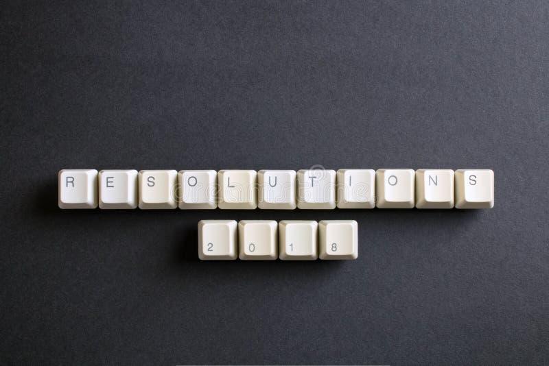 Beschlüsse 2018 Flache Lageansicht von oben genanntem auf Computertastatur stockbild