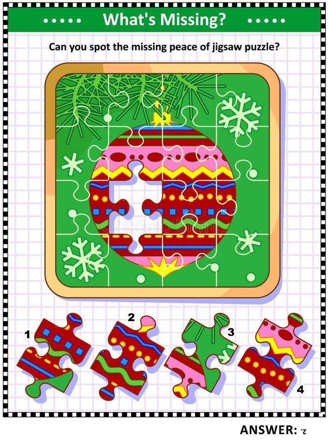 Beschmutzen Sie das fehlende Stückspiel mit Flitter auf Weihnachtsbaumastbild lizenzfreie abbildung