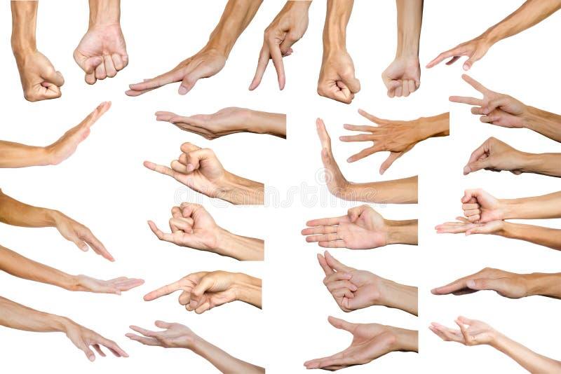 Beschneidungspfad des mehrfachen männlichen Handzeichens lokalisiert auf weißem Ba stockfotos