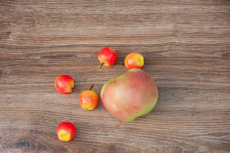 Beschneidungspfad eingeschlossen Kleine und große Äpfel auf Tabelle stockfotografie