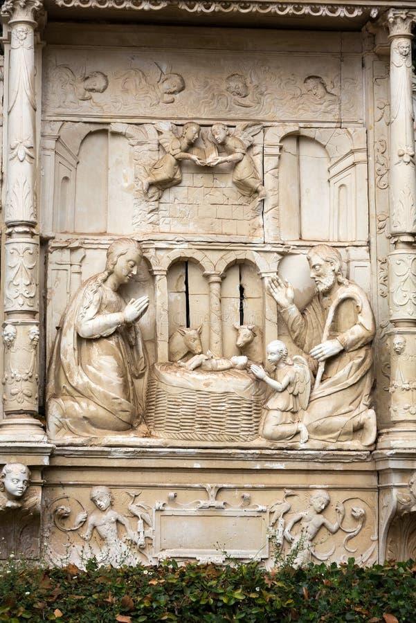 Beschotten die - afschilderend een geboorte van Christusscène in Monte Palace Tropical Garden, Funchal, Madera betegelen, royalty-vrije stock foto's