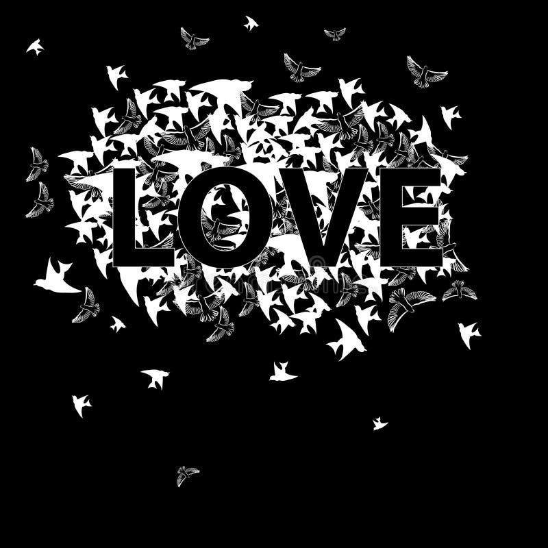 Beschreibung-Liebe mit Vogel stock abbildung
