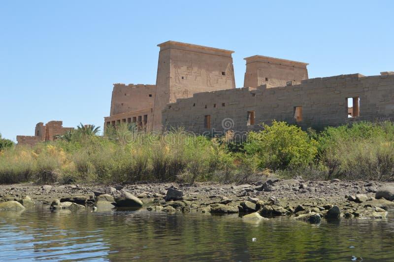Beschreibungen von altem Ägypten an Philae-Tempel, Assuan stockfotos