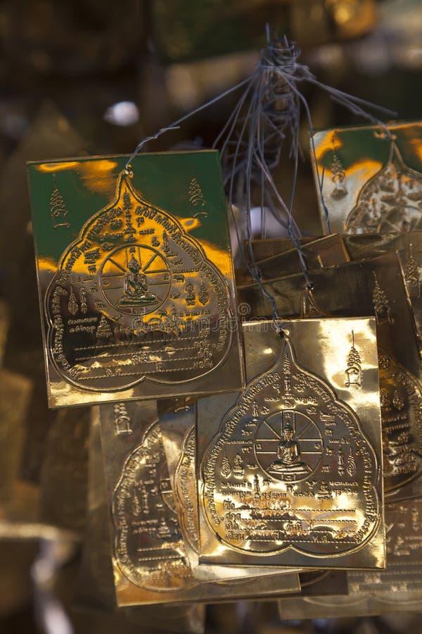 Beschreven bladgoud in Boeddhistische tempel royalty-vrije stock foto
