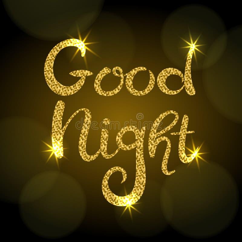 Beschriften der guten Nacht Handgezogene Aufschrift mit goldenem Funkeln Dunkler Hintergrund mit bokeh stock abbildung
