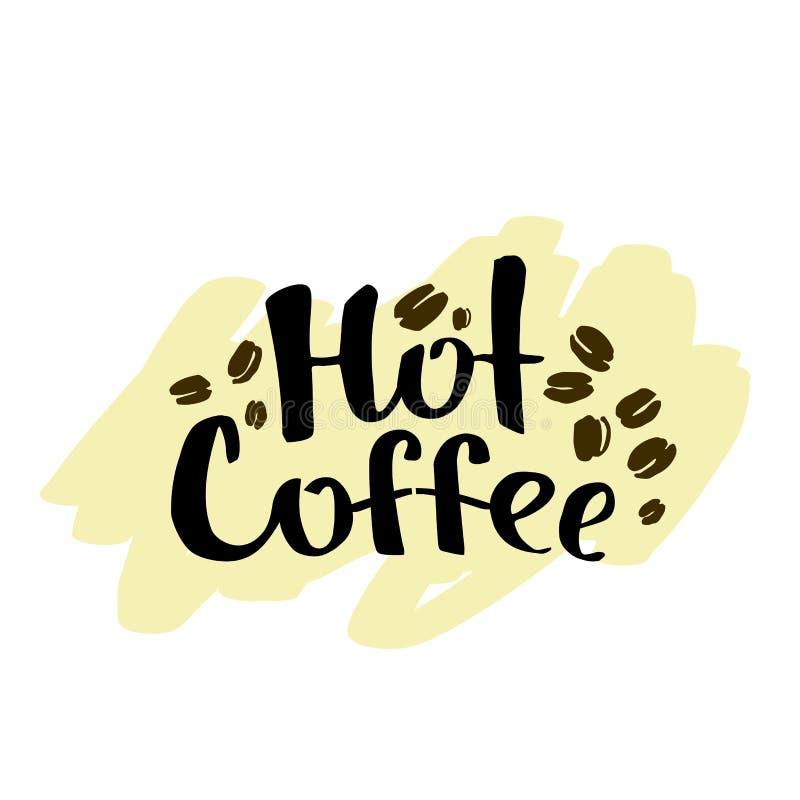 Beschriften des heißen Kaffees Schwarzer Text auf einem hellbraune Hand gezeichneten BAC lizenzfreie abbildung