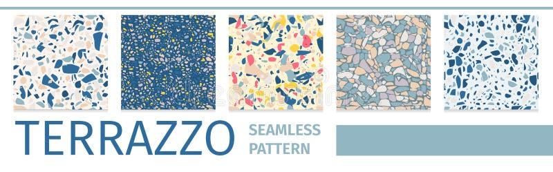 Beschriften gesetzter Terrazzo-des nahtlosen Muster-Entwurfs stock abbildung