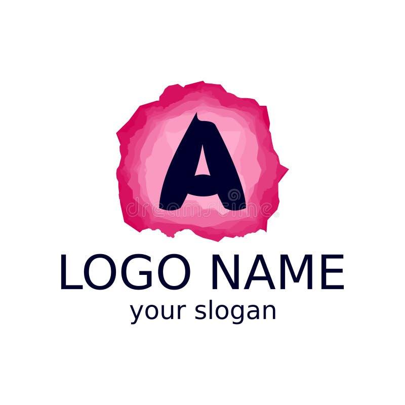 Beschriften Sie A auf einem rosa Fractalhintergrund der rosa Farbe der verschiedenen Schatten lizenzfreie abbildung