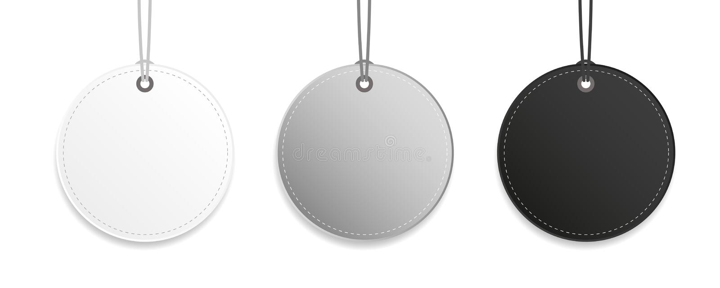 Beschriften Sie die schwarze graue und weiße hängende lokalisierte Umbausammlung stock abbildung