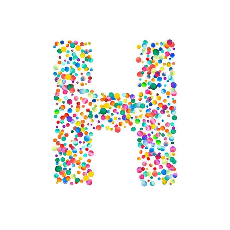 Beschriften Sie h, das an mit dichten Aquarellkonfettis gefüllt wird vektor abbildung