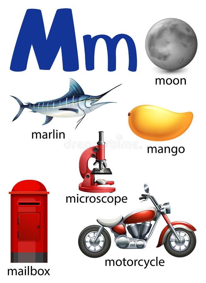 Beschriften Sie M für Mond, Speerfisch, Mango, Mikroskop, Briefkasten und motorc vektor abbildung