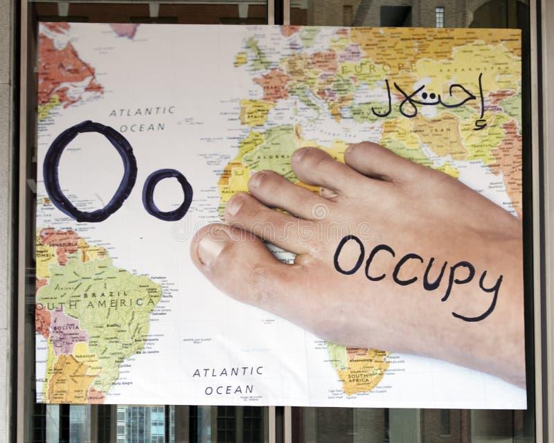Beschriften Sie O für Occupy, Vinylfahne, einwanderndes Alphabet-Projekt, Philadelphia lizenzfreies stockfoto
