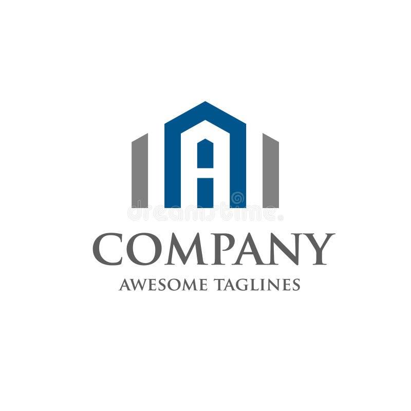 Beschriften Sie Real Estate Logo Design lizenzfreie abbildung