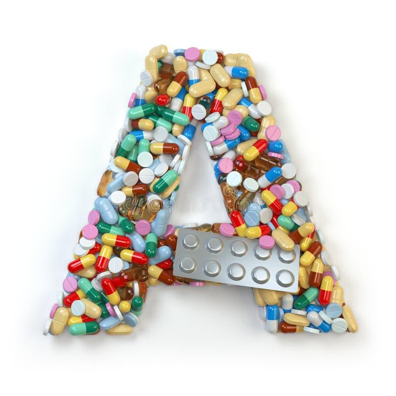 Beschriften Sie A Satz des Alphabetes der Medizinpillen, Kapseln, Tabletten a stock abbildung
