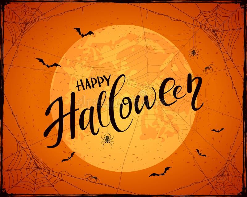 Beschriften von glücklichem Halloween auf orange Schmutzhintergrund mit Mond stock abbildung