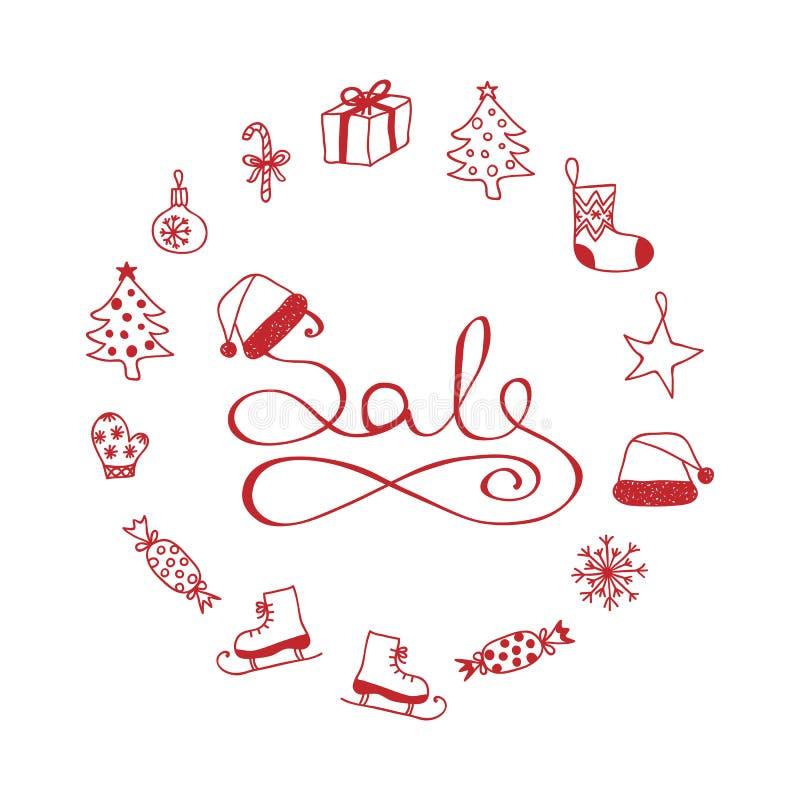 Beschriften - Weihnachtsfahnen-Verkauf mit Karikatur-Elementen stockfotos