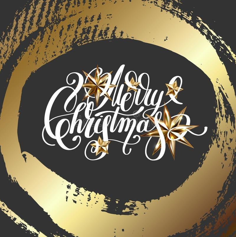 Download Beschriftung Der Frohen Weihnachten Handauf Dunklem Hintergrund Mit Goldenem Br Vektor Abbildung - Illustration von beschriftung, kreativ: 106802375