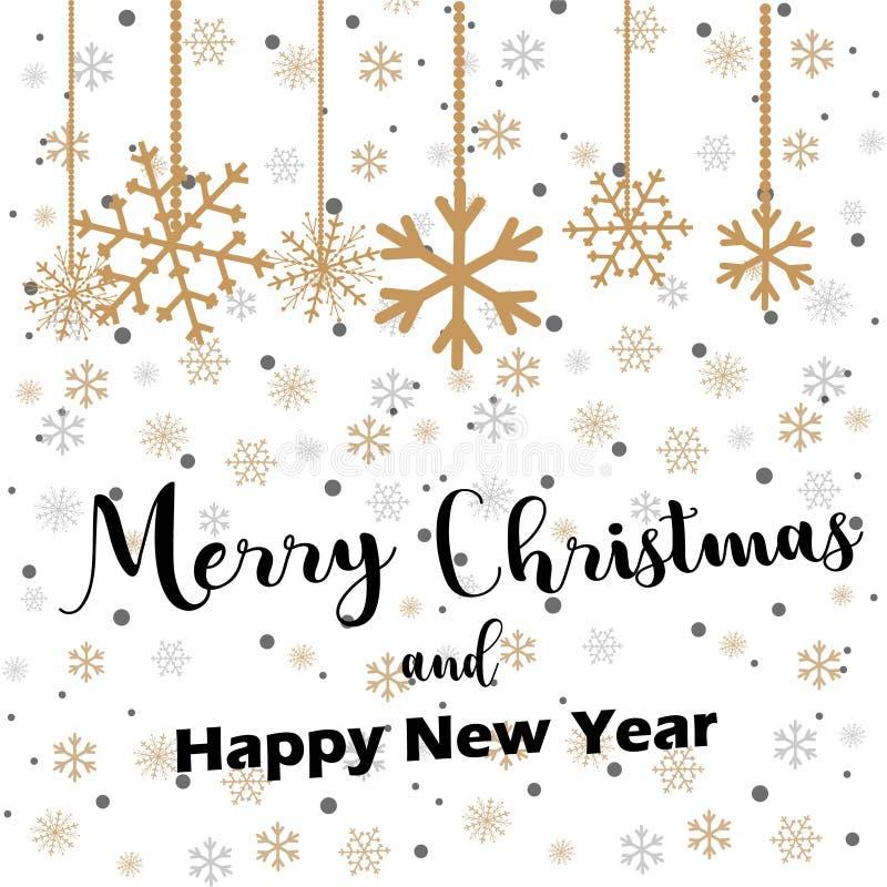 Beschriftung der frohen Weihnachten mit den goldenen und silbernen Verzierungen und Kranzdekoration von Sternen, Schneeflocken Gl vektor abbildung