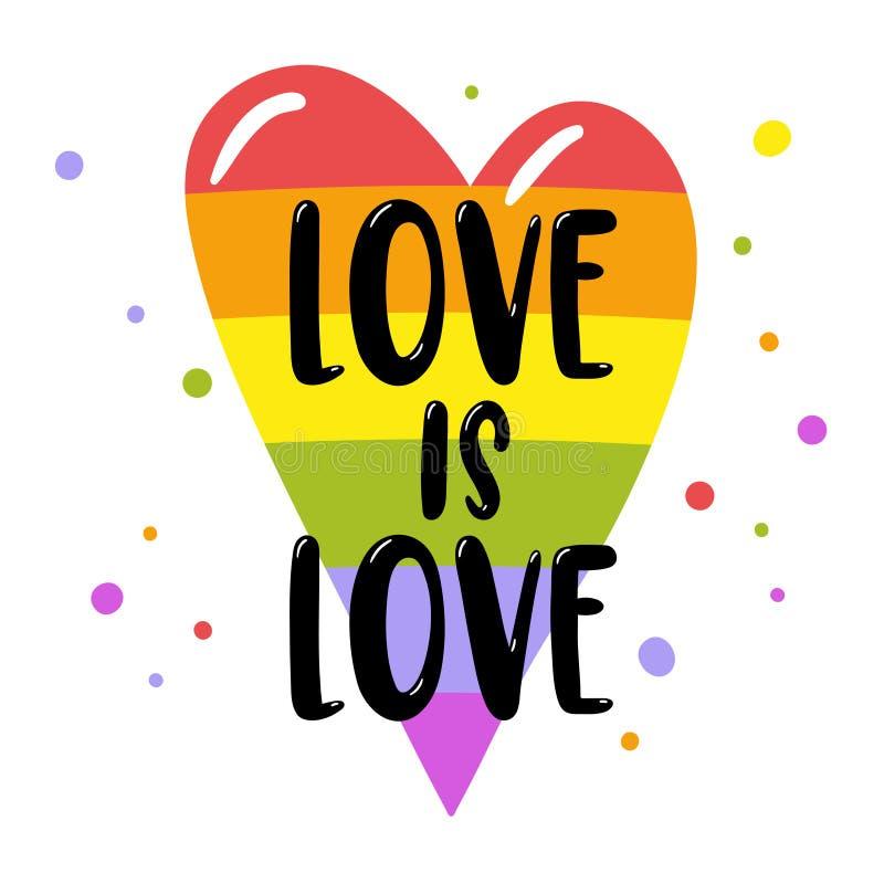 Beschriftung des homosexuellen Stolzes auf einem Regenbogenherzen, Aufschrift Liebe ist Liebe LGBT berichtigt Konzept Rand der Fa vektor abbildung