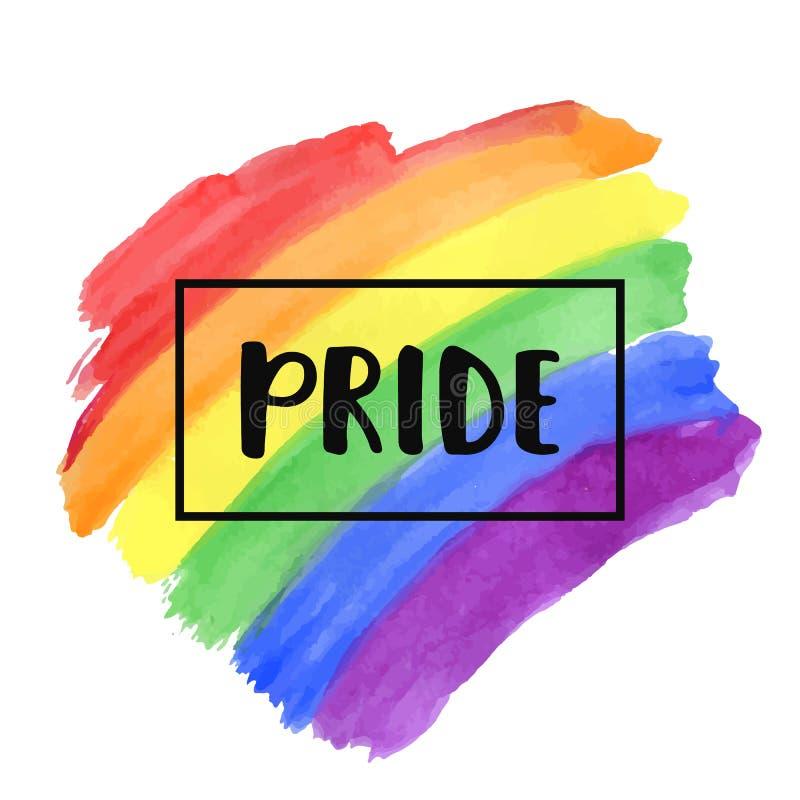 Beschriftung des homosexuellen Stolzes auf einer Aquarellregenbogen-Spektrumflagge lizenzfreie abbildung