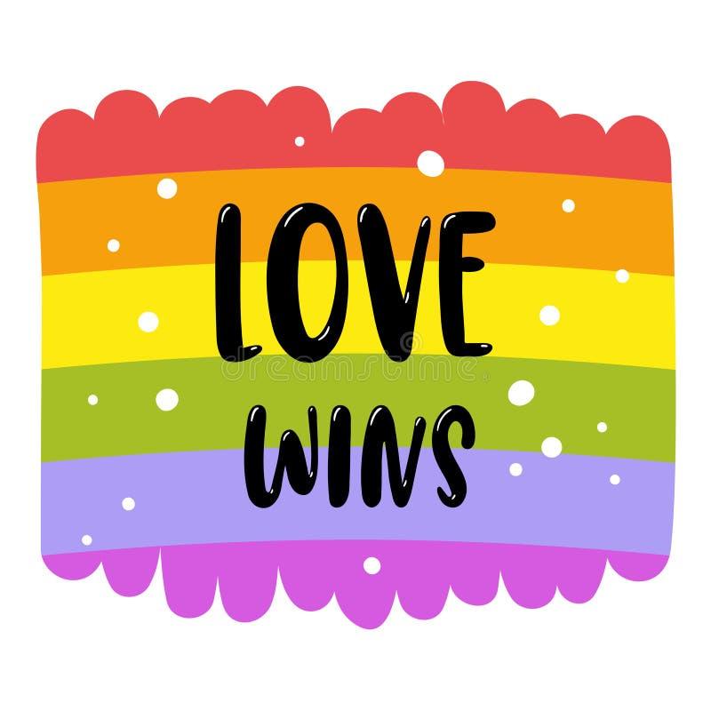 Beschriftung des homosexuellen Stolzes auf einer Regenbogenflagge, Aufschrift Liebe gewinnt LGBT berichtigt Konzept Rand der Farb vektor abbildung