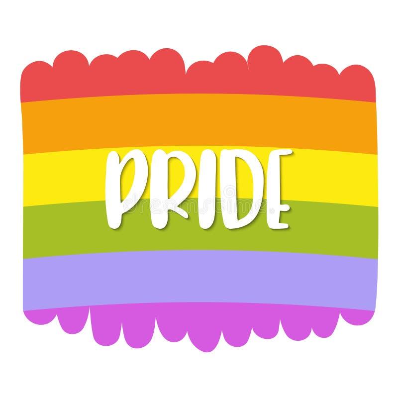 Beschriftung des homosexuellen Stolzes auf einer Regenbogenflagge, Homosexualitätsemblem lizenzfreie abbildung