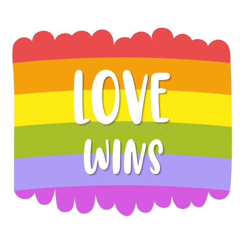 Beschriftung des homosexuellen Stolzes auf heller Regenbogenflagge, Aufschrift Liebe gewinnt LGBT berichtigt Konzept Rand der Far lizenzfreie abbildung