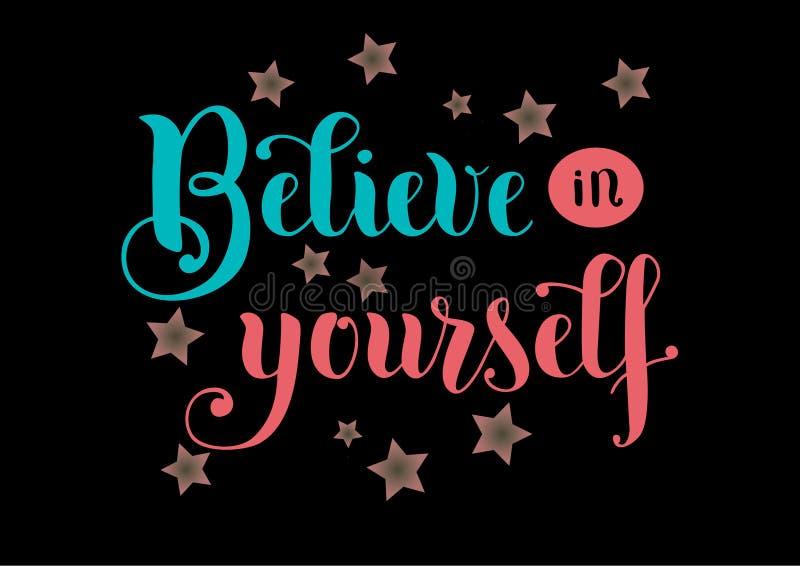 Beschriftung von Believe an selbst in Blauem und in rosa mit Sternen auf schwarzem Hintergrund stock abbildung