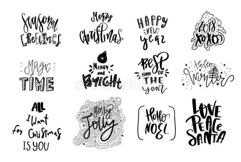Beschriftungsemblemsatz der frohen Weihnachten moderner typografischer Vektorlogo, Textdesign Kann für Fahnen, Karten, Geschenke  stock abbildung