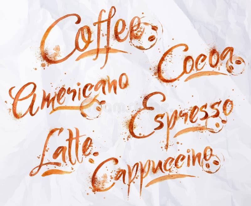 Beschriftungskaffeetropfen stock abbildung