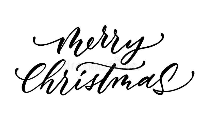 Beschriftungsskript-Tintenzeichen der frohen Weihnachten des Vektors lizenzfreie abbildung
