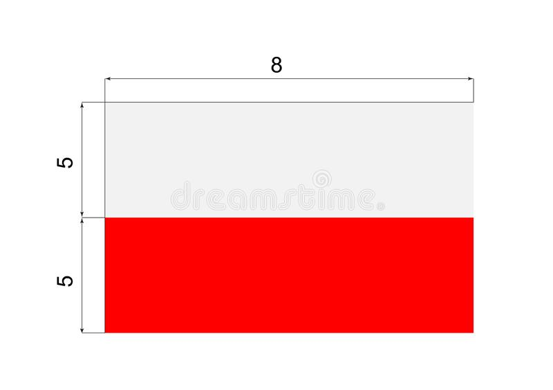 Beschrijving van de Nationale Vlag van Polen met Afmetingen stock illustratie