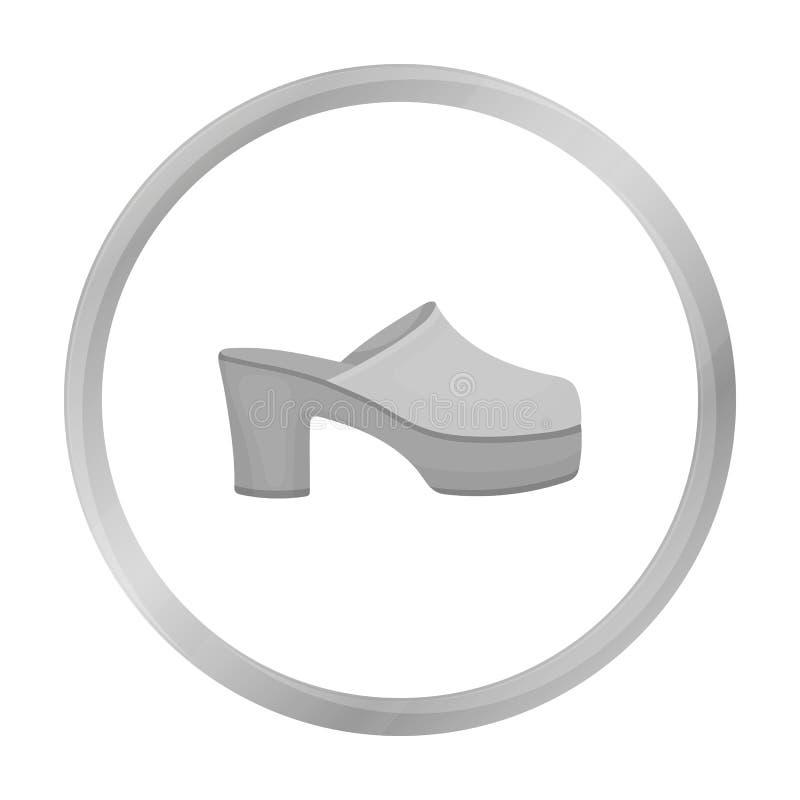 beschuhen Sie die Ikone in der einfarbigen Art lokalisiert auf Weiß Beschuht Symbol stock abbildung