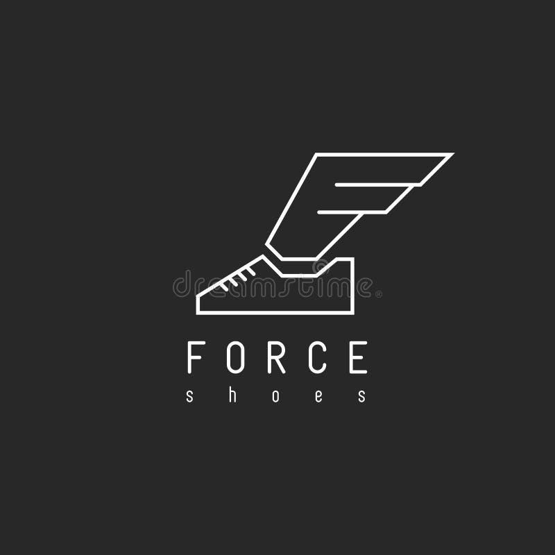 Beschuht Logo mit Flügel in Ansichtbuchstaben F, geflügelter Turnschuh des Modellemblems lizenzfreie abbildung