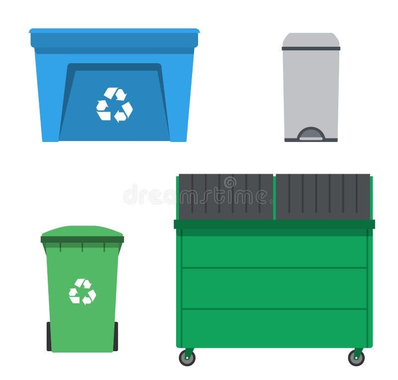 Besegra, och återvinning kan Avskrädebehållareuppsättning stock illustrationer