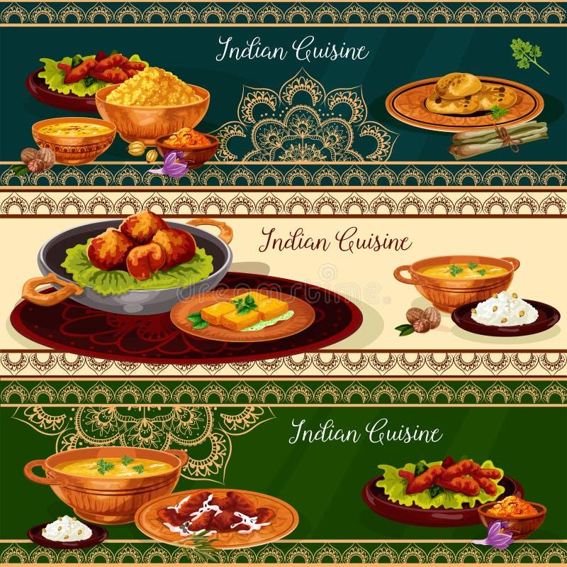 Besegrar kryddig lunch för indisk kokkonst baneruppsättningen royaltyfri illustrationer