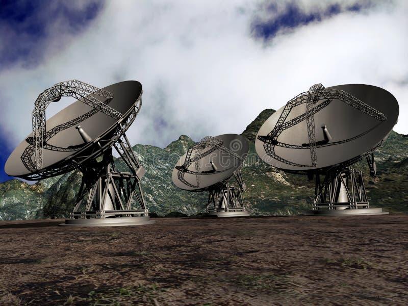 besegrar satelliten vektor illustrationer