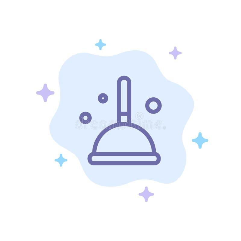 Besen, Reinigung, Mopp, Hexen-blaue Ikone auf abstraktem Wolken-Hintergrund lizenzfreie abbildung