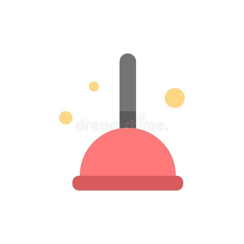 Besen, Reinigung, Mopp, Hexen-flache Farbikone Vektorikonen-Fahne Schablone vektor abbildung