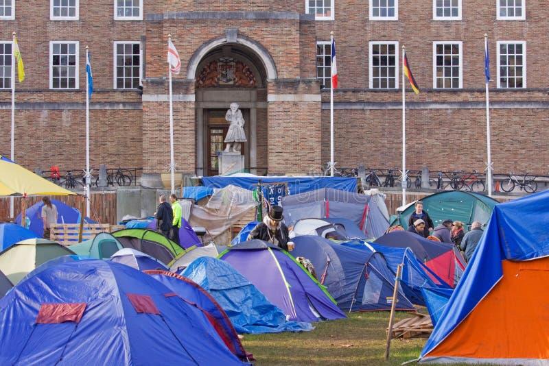 Besetzen Sie Bristol-Protest-Lager stockbild