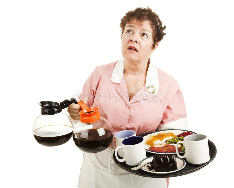 Besetzte Kellnerin stockfoto